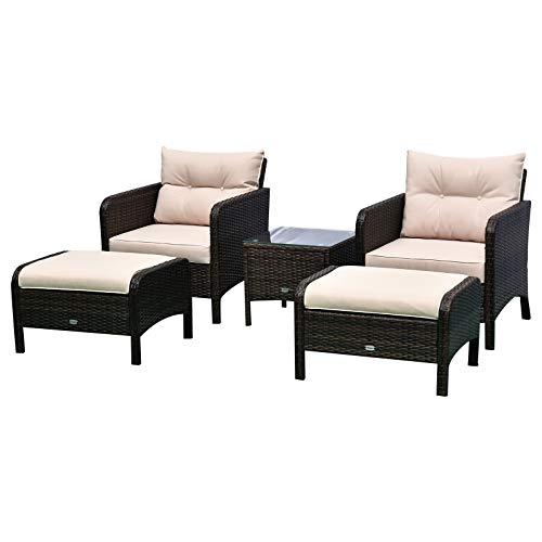 Outsunny 5 Pieces Rattan Wicker Lounge Chair Outdoor Patio Conversation Set with 2 Cushioned Chairs, 2 Ottomans & Glass Table, Beige