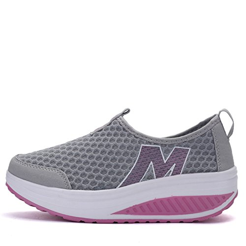 SAGUARO Ladies Toning Rocker Shoes Womens Mesh Slip On Wedges Tennis Platform Walking Sneakers