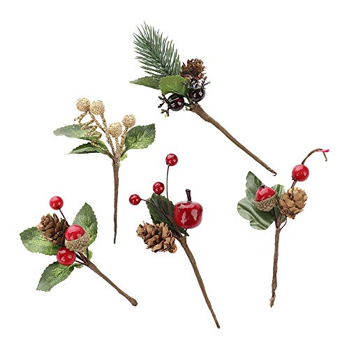 Gentlecarin Artificial Pine Picks, 30pcs Christmas Red Berries Pine Cones Stems, Mini Stimulation Red Berries Branches for Xmas Flower Arrangements Wreaths Decorations