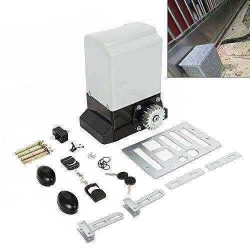 Fetcoi Accionamiento para puertas correderas con 2 mandos a distancia, accionamiento eléctrico para puertas correderas de garaje, apertura automática para puerta de patio, 600 kg, 370 W
