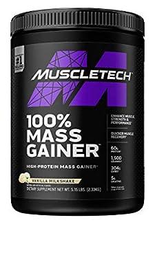 Mass Gainer   MuscleTech 100% Mass Gainer Protein Powder   Protein Powder for Muscle Gain   Whey Protein + Muscle Builder   Weight Gainer Protein Powder   Creatine Supplements   Vanilla, 5.15 lbs by AmazonUs/IOVAB