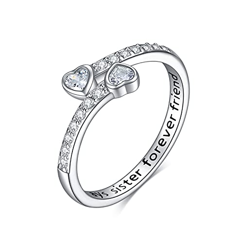 ONEFINITY Sister Gifts from Sister Sterling Silver Sister Rings Always My Sister Forever My Friend Sister Birthday Jewelry Friendship Gifts