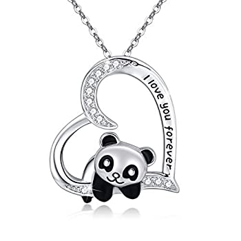 Panda Necklace 925 Sterling Silver Cute Animal Heart Pendant Necklace  I love You Forever  for Women Daughter Panda Gifts Lover