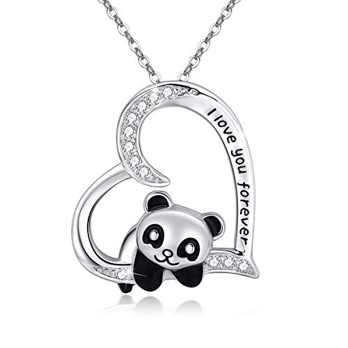 """Panda Necklace 925 Sterling Silver Cute Animal Heart Pendant Necklace"""" I love You Forever"""" for Women Daughter Panda Gifts Lover"""