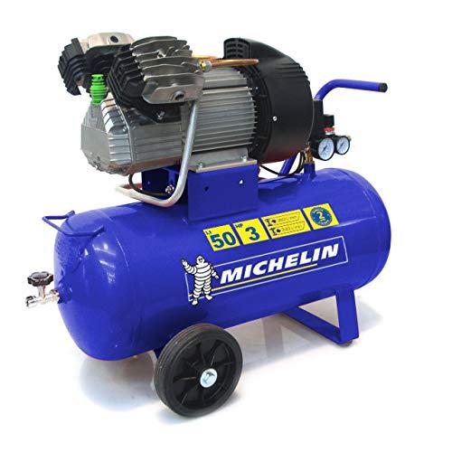 MICHELIN - Compresor de aire portátil MVX50/3 - Tanque de 50 litros - Motor de 3 hp - Presión máxima 10 bar - Flujo de aire 360 l/min - 21.6 m³/h