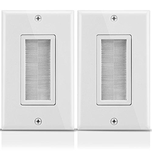 Fosmon 1-gängad väggplatta (2-pack), borststil öppning genomströmning lågspänning kabelplatta installation i väggen för högtalarsladdar, koaxialkablar, HDMI-kablar eller nätverk/telefonkablar