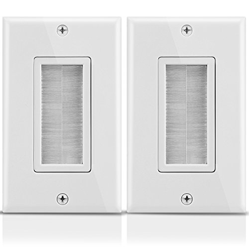 Fosmon 1-Gang Wall Plate (2 Pack), Brush Style Opening Passthrough Low Voltage Cable Plate in-Wall Installation for Speaker Wires, Coaxial Cables, HDMI Cables, or Network-Phone Cables