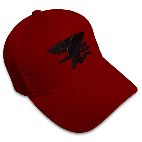 Baseball Cap Navy Seal Black Logo Embroidery Military Insignias Acrylic Hats for Men & Women Strap Closure Burgundy Design Only