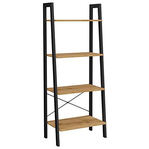 VASAGLE Standregal, Bücherregal, 4 Ebenen Leiterregal, stabiles Metallgestell, einfache Montage, für Wohnzimmer, Schlafzimmer, Küche, honigbraun-schwarz LLS044B05