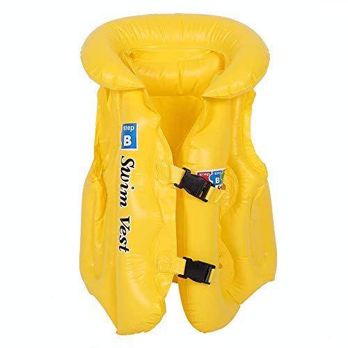 MLIAN Aufblasbare Schwimmweste Kinder Safety Schwimmende Badeanzug für Baby Kinder Rettungsweste Weste Gelb (L)