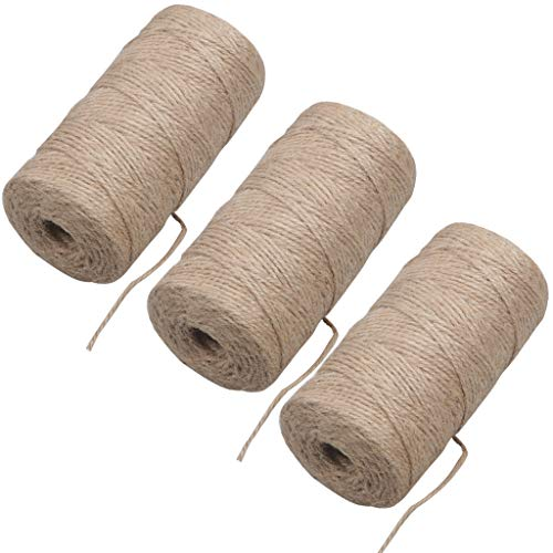 Cuerda de cáñamo de 300 m Cuerda de yute de 3 capas Cuerda de yute natural para floristería, manualidades y manualidades, papel de regalo, jardín y día de acción de gracias, decoración navideña