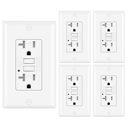 Black Decorative Wall Plate Included 5-20R GFI Receptacle ELECTECK 20A//125V GFCI Outlet ETL Listed Tamper Resistant Ground Fault Circuit Interrupter