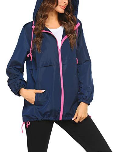 Beyove Rain Jacket for Women Sports Raincoat with Pocket Outdoor Travel Windbreaker Waterproof Navy Blue
