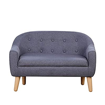 """Kids Sofa Couch/Big Kids Couch/Linen Fabric 2-Seater Upholstered Sofa Chair for Toddler Ages up to 4 / Ideal Baby Gift for Girls & Boys (30"""" W) (Gray) by Koopo"""