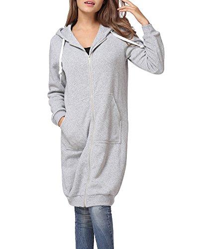 Romacci Damen Kapuzenpullover Lange Kapuzenpullis Beiläufiger Taschen Hoodie Pullover, Grau, S