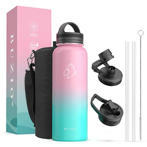water bottles for kids bpas BUZIO 40 oz Water Flask, Insulated Water Bottle with Straw Lids Stainless Steel Canteen Metal Thermo Mug Hydro Cup Jug, Double Vacuum Hot Cold Water Bottles with Carrying Pouch,Bubble Gum