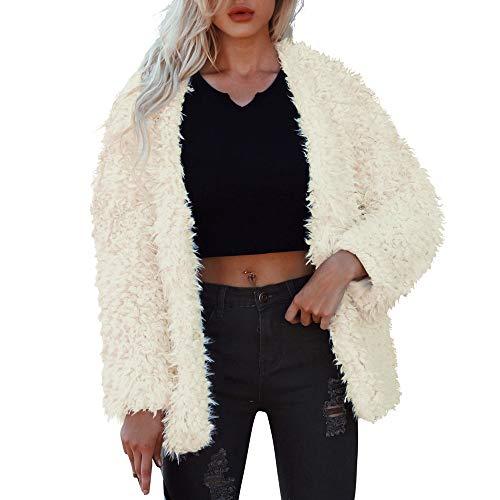 Damen Mantel Winter Elegant Warm Faux Fur Kunstfell Jacke Teddy-Fleece Mantel Revers Jacken Plüschjacke Fleecejacke Sweatjacke Wintermantel von Innerternet