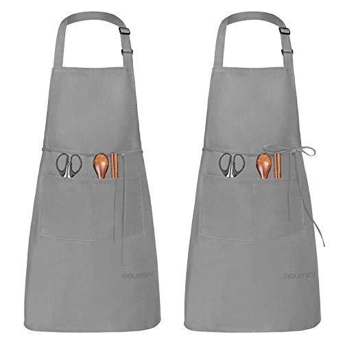 MOLENKY Delantal de Cocina de Poliéster(2 Piezas), con Tira de Cuello Ajustable y 2 Bolsillos, Delantal Chefs Cocina para Cocinar/Hornear