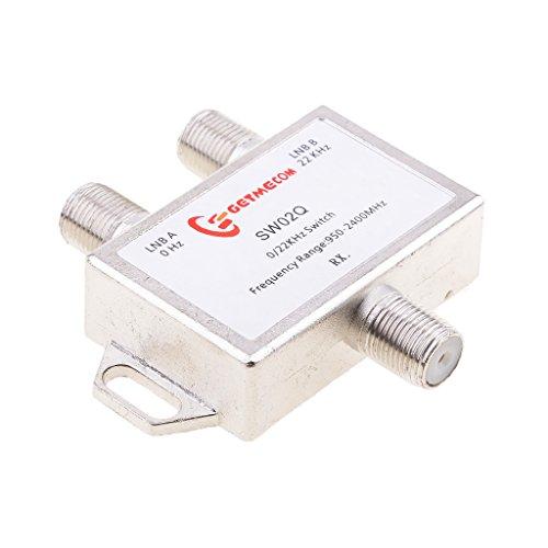IPOTCH Antena Parabólica DiSEqC de 2 Vías Interruptor LNB Múltiple 0 / 22KHz - 2 Entradas Y 1 Salida
