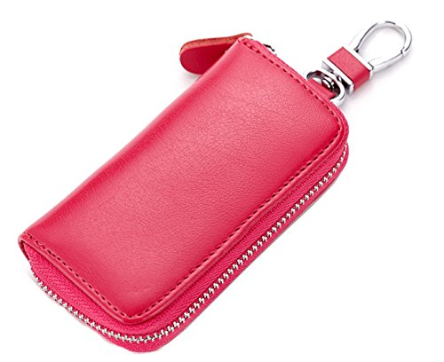 iSuperb - Estuche de llaves Familia Cartera de Llavero Piel Llave de Moto Coche y Unas Pequenas Organizador de Llaves Portallaves con Cremallera (Rojo Rosa)