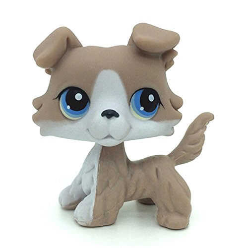 wdd Littlest Pet Littlest Pet Shop LPS Collie Puppy Dog #67 Grey and White Collie DogCollie Dog Mauve & Yellow with Green Eyes Figure Toy #1723