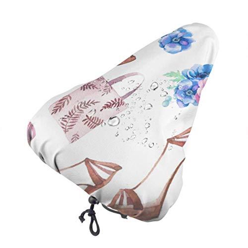 Fundas de asiento para bicicletas Mujer Zapato y maquillaje Bicicleta Funda de asiento de lluvia Funda de silla de montar Bicicleta con cordón, resistente a la lluvia y al polvo para la mayoría de l