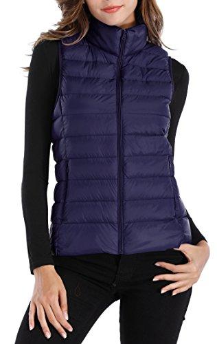 Sarin Mathews Womens Packable Lightweight Down Vest Outdoor Puffer Vest with Pockets Navy M