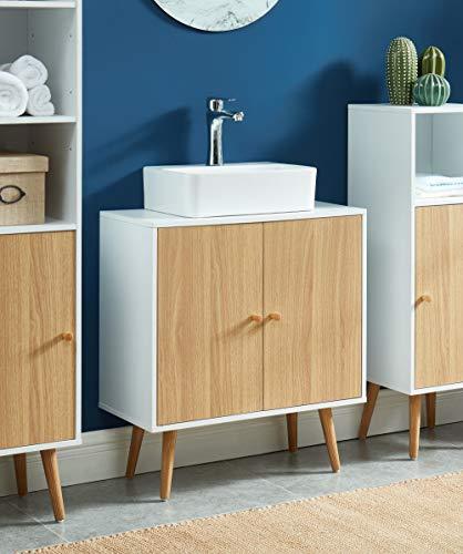 Baïta MAX06 Waschbeckenunterschrank für Badezimmer, Weiß und Eiche, 60 cm