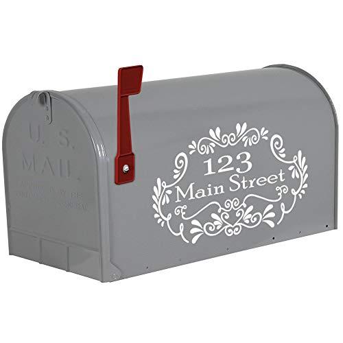 VWAQ Custom Vinyl Mailbox Address Decals Personalized Stickers Street Address - CMB8 (White)