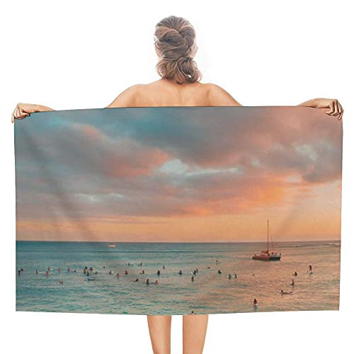Toalla de Playa Azul 80x160 cm Paisaje Marino Al Atardecer Suaves Compacta Muy Absorbentes Ligera y de Secado Rápido Sin Arena Toalla de Microfibra para la Playa Viajar Nadar Acampar Camping y Picnic