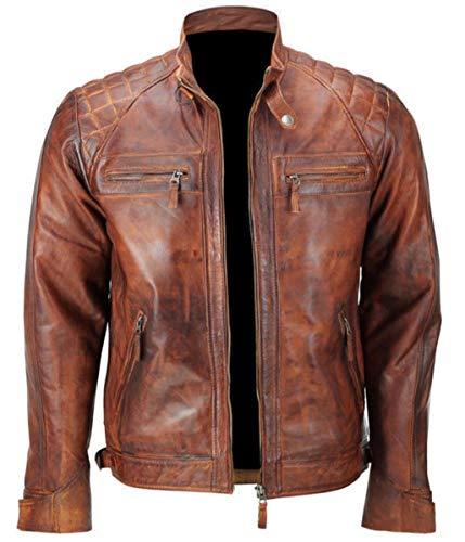 Emporrio Armani Herren/Damen, gesteppt, Vintage, Used-Look, gewachst, Braun Gr. XL - Brust 104/ 107 cm, braun