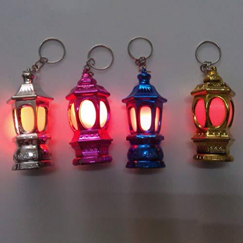Uonlytech 20pcs Mini Keychain Flashlights LED Pocket Ramadan Lantern Keyring Light Lamp Islam Eid Gift for Bag Handbag Purse (Random Color)