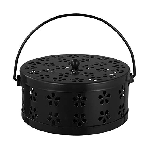 Garneck Iron Mosquito Coil Holder Retro Portable Round Fireproof Incense Holder for Home and Camping (Black)