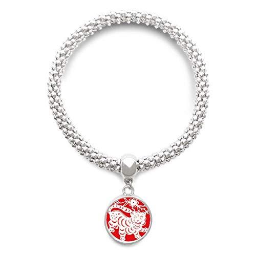 DIYthinker Damen Papier-Cut-Tiger-Tier China Sternzeichen Kunst Sliver Armband Laufende Anhänger Schmuck-Kette