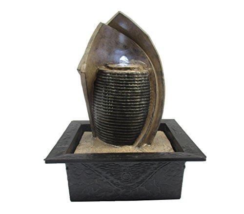 Dehner 4022604 Fontaine Lotus avec éclairage LED, polyrésine, Gris, 28 x 18 x 21 cm