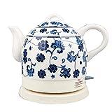 aedouqhr Hervidor eléctrico de cerámica inalámbrico Blanco Tetera-Retro 1l Jarra, 1350w rápido de Agua para té, café, Sopa, Base extraíble de Avena, protección para hervir en seco