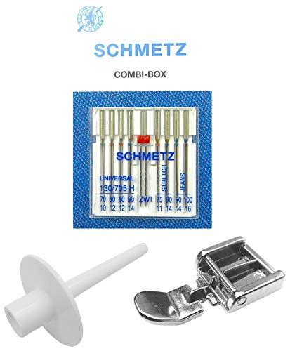 SCHMETZ NADELN Combi-Box + Garnstift Garnrollenhalter einfach auf den Spuler stecken + Reißverschlussfuß Nähfuß für Victoria, Brother, FiF, Janome, Kenmore, Juki, Quasatron Nähmaschinen
