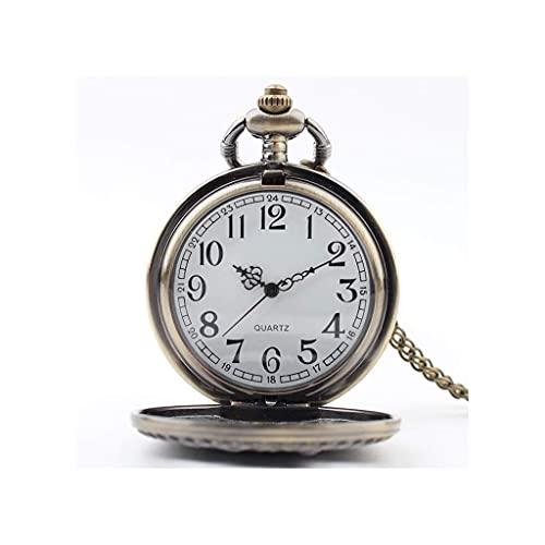 Reloj de Bolsillo con Estilo clásico.Reloj de Bolsillo y Cadena para Hombre,Modelo de Locomotora clásica Reloj Colgante de Cuarzo como Regalo Retro para el día del Padre/cumpleaños/Aniversario