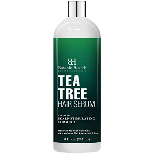 Botanic Hearth Tea Tree Hair Serum, Hair Growth Stimulating, Made with Natural Plant Oils - Adds Volume, Thickness and Shine - Nourishes & Hydrates Dry & Damaged Hair, for Men and Women - 8 fl oz