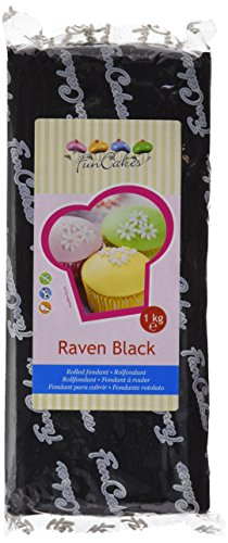 FunCakes Fondant para Cubrir Tartas, Cupcakes, Galletas o Modelar color Negro: Sabor Vainilla, Flexible, Sin Gluten, Halal, Kosher D, Apto Véganos, 1k, FC97510