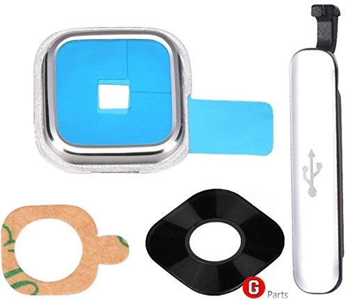 Premium ✅ Cámara Lente de Cubierta Set para Samsung Galaxy S5SM-G900F (Plata)–Cámara...