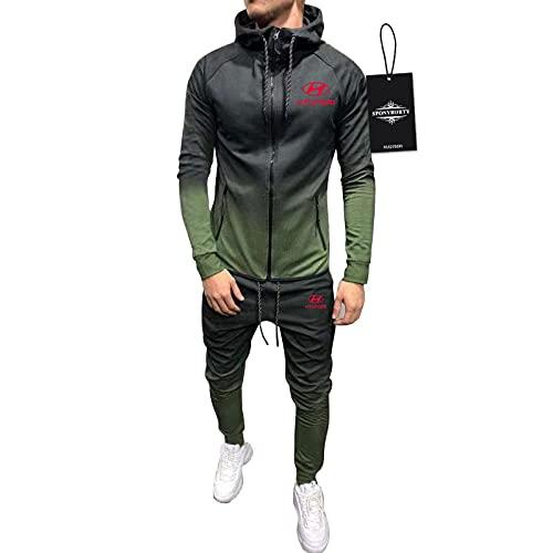 BOYASI de Los Hombres Chandal Conjunto Trotar Traje Hyun-Dai Hooded Zipper Chaqueta + Pantalones Capucha Baloncesto Ropa de Los Hombres/Ejercito Verde/XXXL