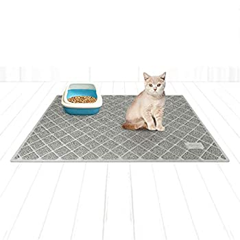 Niubya Premium Cat Litter Mat Litter Box Mat with Non-Slip and Waterproof Backing Litter Trapping Mat Soft on Kitty Paws and Easy to Clean Cat Mat Traps Litter from Box 47x35 Inches Grey