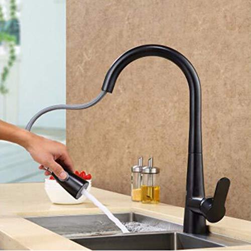 JFBZS-Faucet Grifo Kitchen Sink Granite Wash Basin el Cobre Puede Dibujar frío y Caliente Avena Piedra de Cuarzo Sand Blasting Grifo,B