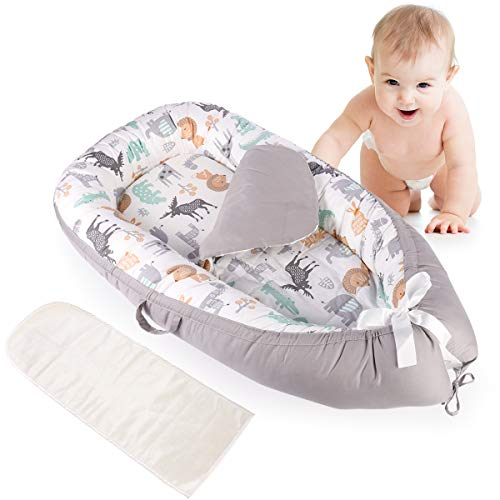 Detachable Baby Nest with Mattresses, Portable Newborn Lounger for Baby 0-24 Months, Soft, Machine Washable, Lightweight (Grey/Anima)
