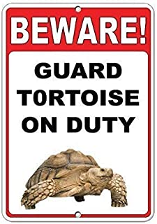 """New Metal Sign Aluminum Sign Beware! Guard Tortoise On Duty Quote Sign for Outdoor & Indoor 12"""" x 8"""""""