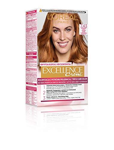 L'Oréal Paris Loreal Excellence Creme Haarfärbemittel 7.43 Blond Kupfern-Golden