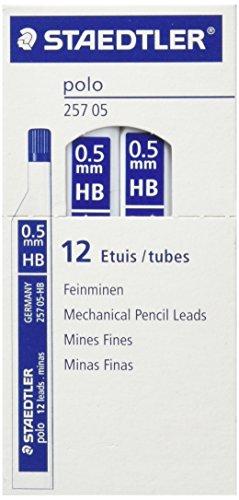 STAEDTLER 257 0.5 HB - Caja de Minas, 12 Tubos con 12 Minas Cada Tubo