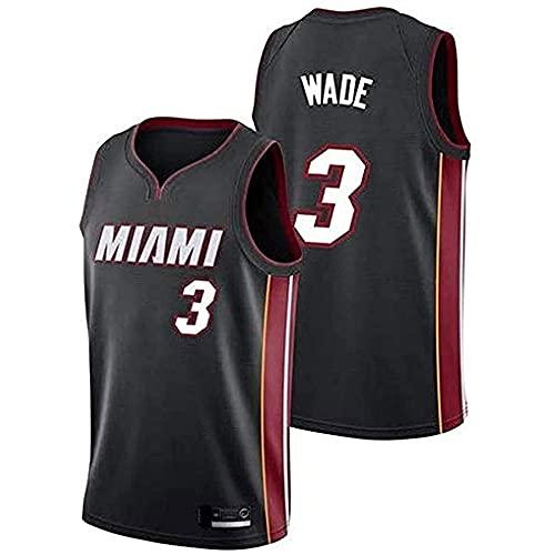 QJJ Maglia Dwyane Wade - Miami Heat #3 Swingman Edition Maglia da Basket, Abbigliamento Sportivo, T-Shirt Senza Maniche Unisex E Pantaloncini a Rete Black-XL