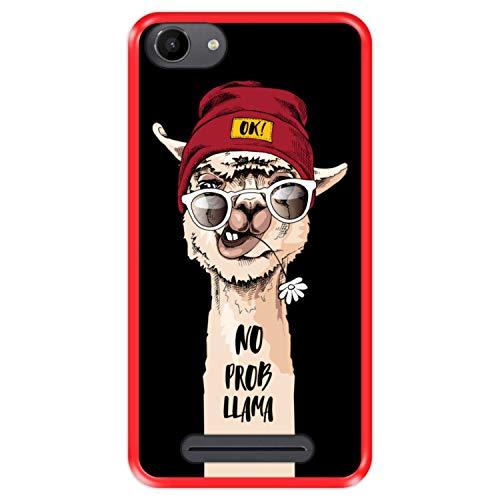 Hapdey silikon Hülle für [ Wiko Jerry - Lenny 3 - K-Kool ] Design [ Lustiges Lama, No Prob Llama ] Rot Flexibles TPU